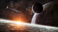 Восход солнца над группой планет