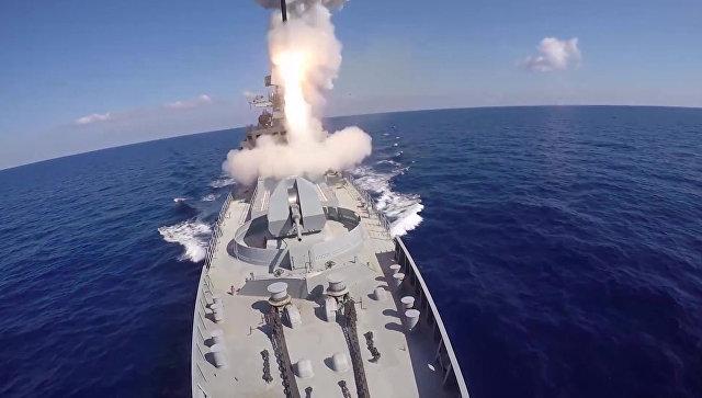 Удар крылатыми ракетами Калибр по объектам запрещенной в РФ террористической группировки ИГИЛ в Сирии