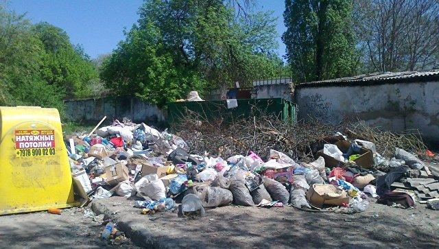 Мусорная свалка на ул. Индустриальная в Симферополе