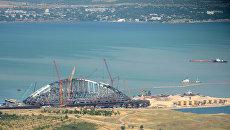 Строительство железнодорожной части Керченского моста в Крыму