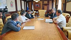 Встреча главы Республики Крым Сергея Аксенова с депутатом партии Лига Севера Стефано Вальдегамбери