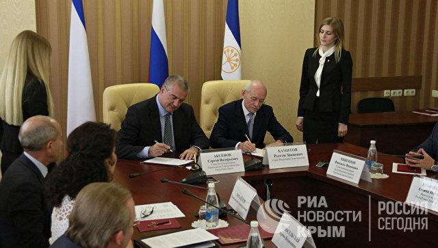Встреча руководства Республики Крым с делегацией из Республики Башкортостан в Совете министров РК