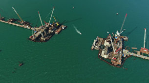 Строительство моста в Крым. Съемка с коптера