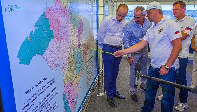 Визит министра транспорта России Максима Соколова на строительстве моста через Керченский пролив