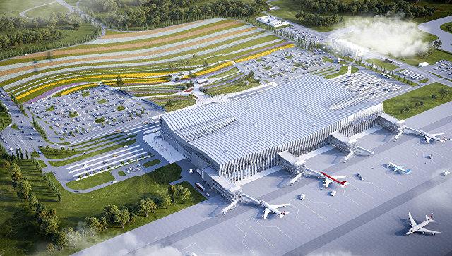 Макет концепции привокзальной площади нового терминала аэропорта Симферополь