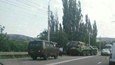 ДТП с участием военного КамАЗа и БТРа