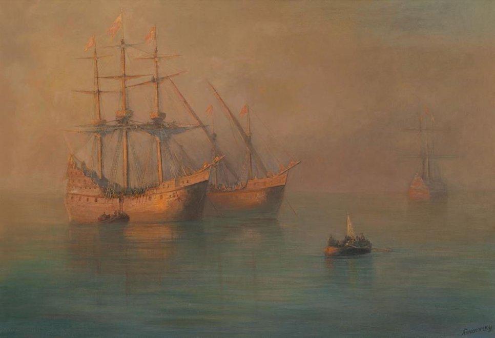 Прибытие флотилии Колумба, Иван Айвазовский