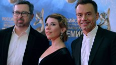 Участники группы Дискотека Авария: Алексей Рыжов, Анна Хохлова и Алексей Серов (слева направо)