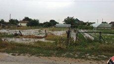 Домовладения, затопленные селевым потоков в селе Дачное