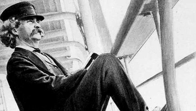 Марк Твен на палубе парохода Квакер-сити