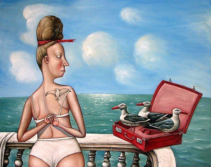 Картина Чемодан чаек художницы Анжелы Джерих