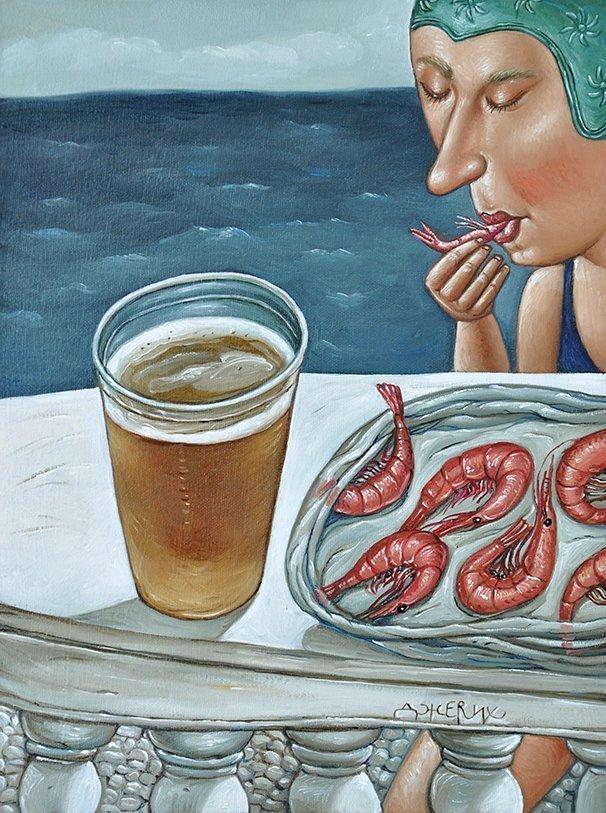 Картина Пиво с креветками художницы Анжелы Джерих