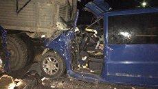 Столкновение автомобилей Mercedes и КамАЗ на объездной автодороге Западный обход Симферополя
