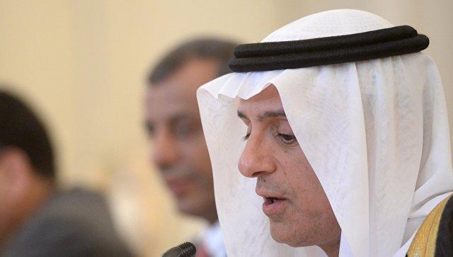 Министр иностранных дел Саудовской Аравии Адель аль-Джубейр во время встречи с министром иностранных дел РФ Сергеем Лавровым в Москве.