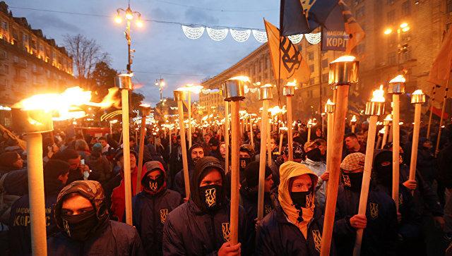 Марш по случаю годовщины создания УПА (запрещена в РФ) в Киеве. 14 октября 2017 года