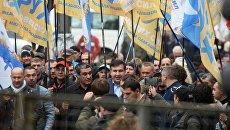 Михаил Саакашвили на акции в поддержку политической реформы в Киеве. 17 октября 2017
