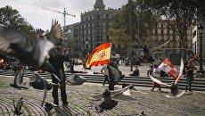 Участники акции в защиту единства Испании в Барселоне