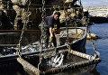 Рыбак во время ловли рыбы в Крыму