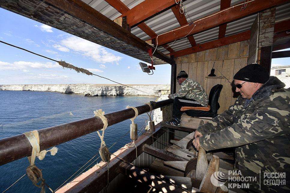 Рыбаки на наблюдательных вышках во время ловли рыбы на мысе Тарханкут. Большой Атлеш