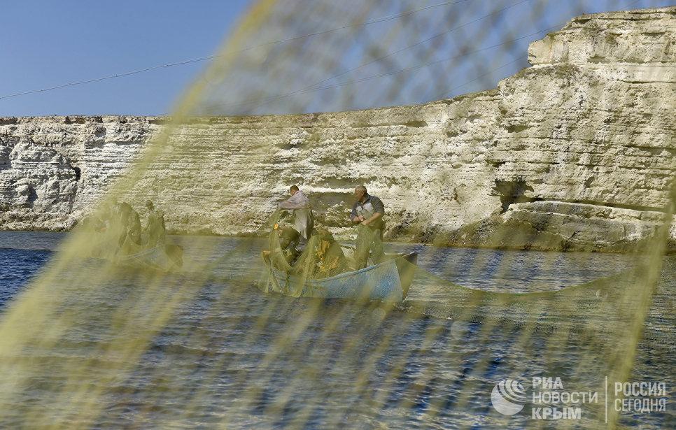 Рыбаки во время ловли рыбы на мысе Тарханкут. Большой Атлеш