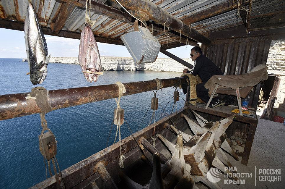 Рыбаки на наблюдательных пунктах во время ловли рыбы на мысе тарханкут. Большой Атлеш