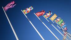 Флаги с символикой XIX Всемирного фестиваля молодежи и студентов в Олимпийском парке в Сочи.