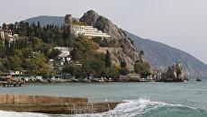 Скала Подзорная труба и дом отдыха Скальный в Гурзуфе