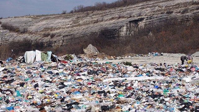 Мусорная свалка в селе Скалистое Бахчисарайского района