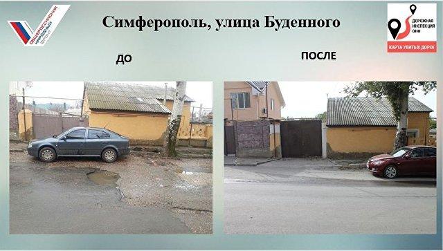 Улица Буденного в Симферополе, где отремонтировали участок дороги