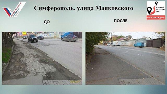 Улица Маяковского в Симферополе, где отремонтировали участок дороги