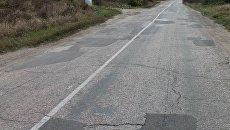 Отремонтированный участок дороги на Партизанском шоссе в Симферопольском районе
