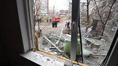 Вид из окна дома на Удмуртской улице в Ижевске, пострадавшего в результате частичного обрушения