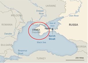 Американская газета New York Times опубликовала географическую карту, на которой Крым изображен одним цветом с Российской Федерацией и подписан как спорная территория