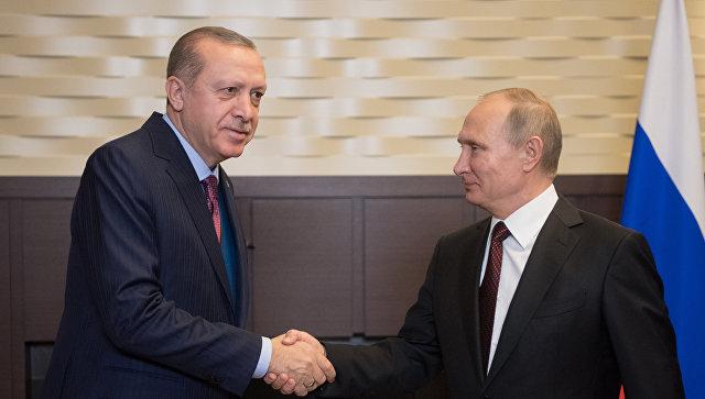 Президент РФ Владимир Путин и президент Турции Реджеп Тайип Эрдоган во время встречи. 13 ноября 2017