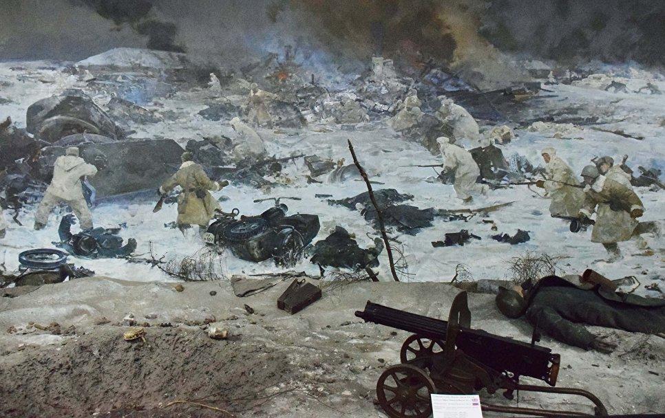 Панорама битвы в Музее боевой славы в Доме офицеров в Алма-Ате
