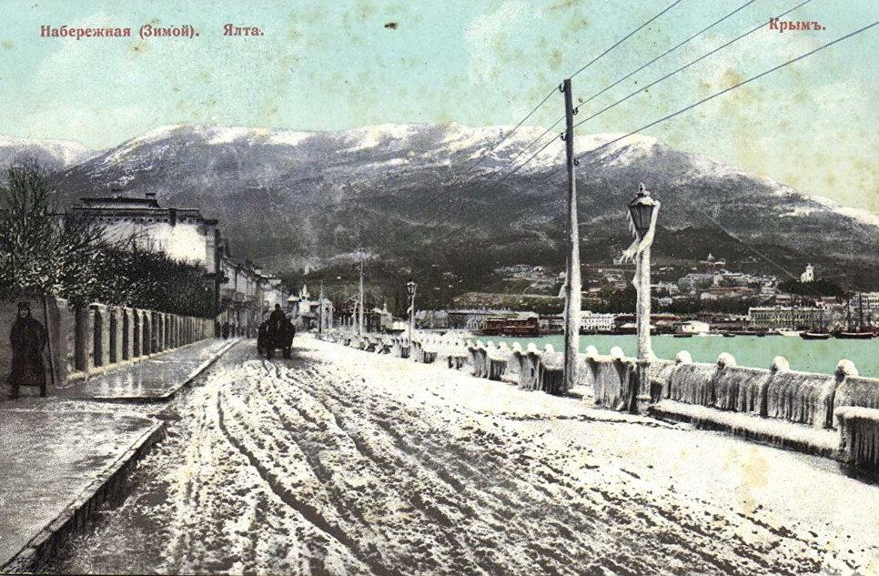 Набережная Ялты зимой