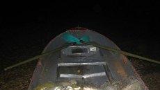 Лодка, в которой браконьер занимался незаконным выловом рыбы