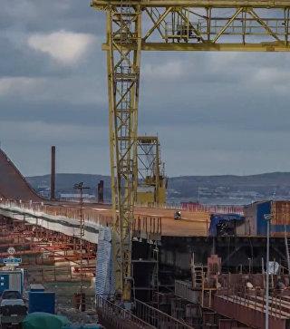 Видео сборки пролетов автодороги моста в Крым
