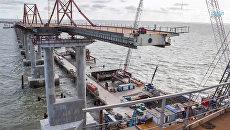 Сооружение пролетов автодороги под Крымский мост методом надвижки