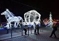 Новогодняя световая композиция на площади Ленина в Симферополе