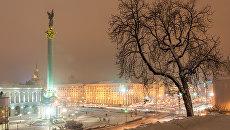 Площадь Независимости в Киеве зимой