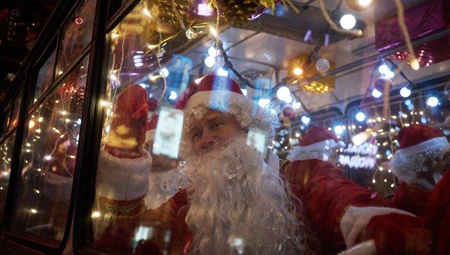 Дед Мороз в автобусе