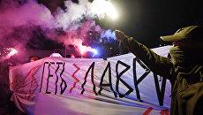 Протестующие возле Киево-Печерской лавры в Киеве