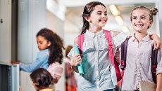 Девочки в школе во время перемены. Архивное фото