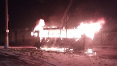 В Симферополе сгорела маршрутка