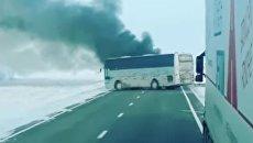 Загоревшийся в Казахстане пассажирский автобус. 18 января 2018 года