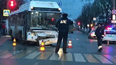 ДТП в Симферополе. В аварию попал новый автобус ЛИАЗ