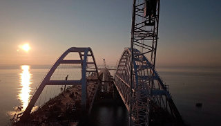 Как сейчас выглядит строительство Крымского моста. Видео с коптера