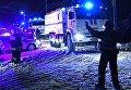 Автомобили МЧС России в Раменском районе Московской области, где самолет Ан-148 Саратовских авиалиний рейса 703 Москва-Орск потерпел крушение 11 февраля 2018 года