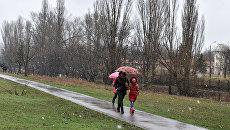 Мокрый снег в Симферополе